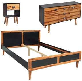 4-dielna sada nábytku do spálne, akáciové drevo, 140x200 cm (243177+243916+243900)