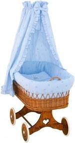 SC Detský prútený košík Medvedík s baldachýnom - modrý