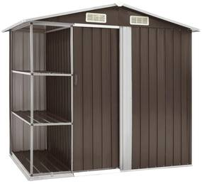 vidaXL Záhradná kôlňa s regálom hnedá 205x130x183 cm železná