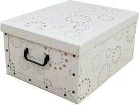 Compactor Skladacia úložná krabica Compactor Ring - kartón box 50 x 40 x 25 cm, biela