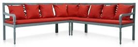 vidaXL 3-dielna záhradná sedacia súprava akáciové drevo sivá a červená