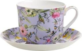 Šálka s tanierikom z kostného porcelánu Maxwell & Williams Kilburn Winter Bloom, 460 ml