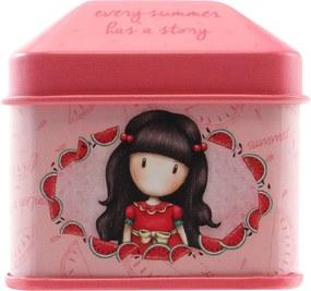 Santoro London - Plechová krabička so samolepkami - Gorjuss - Every Summer has a Story Růžová;Červená