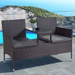 """Polyratanový záhradný nábytok """"Monaco"""", čierna s tmavošedými sedákmi"""