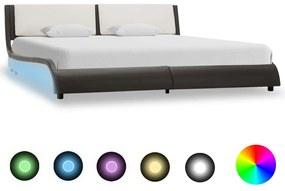 vidaXL Posteľný rám s LED, sivo biely, umelá koža 160x200 cm