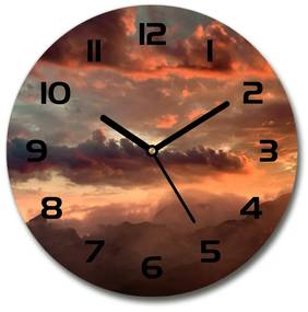 Sklenené hodiny na stenu Západ slnka hory pl_zso_30_f_90609919