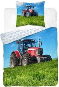 DETEXPOL Obliečky Traktor červený Bavlna, 140/200, 70/80 cm