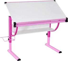 Polohovateľný písací stôl Roufas, ružový / biely