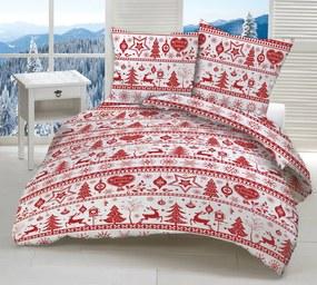 Obliečky bavlnené Vianočné obliečky Sobíky červené TiaHome 1x Vankúš 90x70cm, 1x Paplón 140x200cm