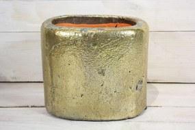 Betónová váza - zlatá (v. 15 cm) - moderný štýl