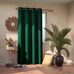 Tmavozelený zatemňovací záves AmeliaHome Eyelets Dark Green, 140 x 245 cm