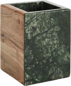MADAM STOLTZ Mramorový kalíšok na kefky Green / wood