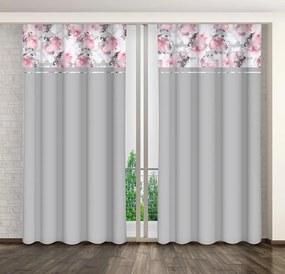 Krásny sivý dekoračný záves s farebnou kombináciou kvetov