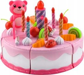 ISO Detský plastový narodeninovú tortu 80 dielov, ružový, 7466