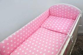 5-dielneGuľka ružová, obliečky do postieľky, Ankras - Rozmer 120x90x360