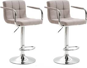 2 kusy, barová stolička, sivohnedá taupe látka/chróm, LEORA 2 NEW