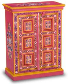 vidaXL Komoda z mangovníkového dreva, ružová, ručne maľovaná