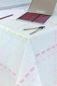 Obrus PVC metráž 573433, šírka 140 cm, prepletaný vzor sivo ružový, IMPOL TRADE