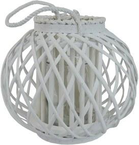 Drevený lampáš Aura 27 x 24 cm, biela