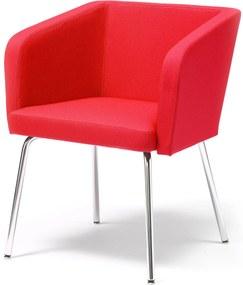 Konferenčné kreslo Stratford, chrómované nohy, červená