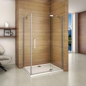 Obdĺžnikový sprchovací kút AIRLINE 90 × 80 cm s jednokrídlovými dverami s pevnou stenou