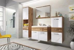 Koupelnová sestava ALBA s umyvadlem, dub wotan/bílá lesk