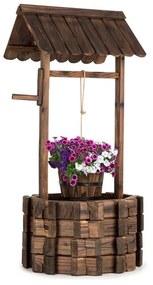 Andernach, ozdobná studňa, jedľové drevo, s vedrom, otočná kľuka, hnedá