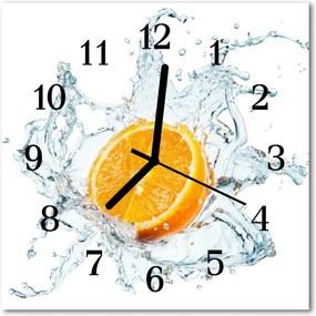 Nástenné sklenené hodiny  oranžová voda