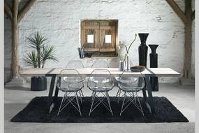 Jedálenský stôl Annie 290 -410cm / biela-čierna