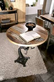 Bighome - INDUSTRY Príručný stolík 75x75 cm - čierny podstavec, staré drevo