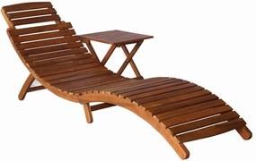 vidaXL Záhradné ležadlo so stolíkom, akáciový masív, hnedé