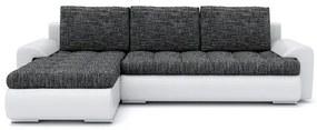 Rozkladacia rohová sedacia súprava TOKIO VI Tmavo šedá/biela eko-koža Ľavá
