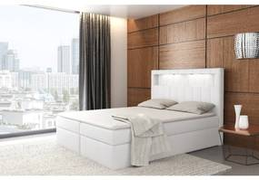 Dizajnové jednolôžko Elyan s úložným priestorom biela eko koža 120 x 200 + topper zdarma
