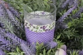 Fialový provensálsky svietnik na čajovú sviečku