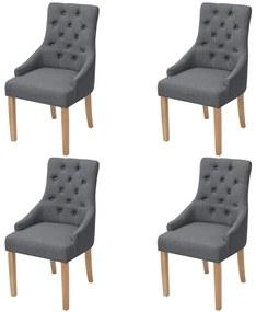274423 vidaXL Dubové jedálenské stoličky, 4 ks, látkový poťah, tmavošedé (2x243636