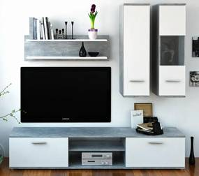 Obývacia stena Waw (betón + biela)