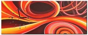 Tlačený obraz s hodinami Oranžový vír 100x40cm ZP3863A_1I