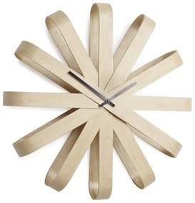 Nástenné hodiny RIBBON WOOD drevené 51,4cm, Umbra, Bukové drevo, 51,4 priemer x 9,5 cm, prírodna, čierna