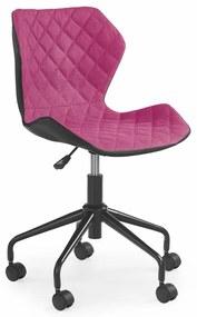 HALMAR Matrix detská stolička na kolieskach ružová / čierna