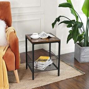 VASAGLE Odkladací stolík s kovovým košom 40 x 50 x 40 cm