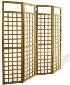 4-panelový paraván z masívneho akáciového dreva, 160x170 cm