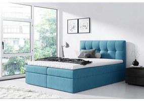 Jednoduchá posteľ Rex 140x200, modrá + TOPPER