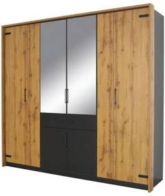Sconto Šatníková skriňa ADDISON dub wotan/sivá, 8 dverí, 2 zrkadlá, 1 zásuvka.