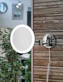 SAPHO - Závesné kozmetické zrkadielko kulaté s LED osvetlením, chróm (MW845)