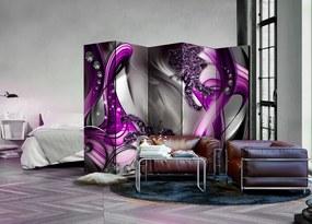 Paraván vo fialovej a šedej farbe s abstraktným motívom