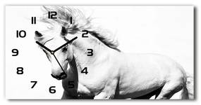 Moderné sklenené hodiny na stenu Biely kôň pl_zsp_60x30_f_14270832