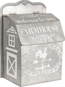 Šedá plechová poštová schránka Farmhouse - 26 * 16 * 37 cm