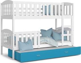 GL Poschodová posteľ s prístelkou Color - Jakub 3 Farba: Modrá, Rozmer: 190x80