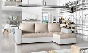 NABBI Novara L/P rohová sedačka s rozkladom a úložným priestorom béžová / biela