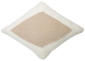 LORENA CANALS Pletený vankúš Candy Ivory-Linen, biela/hnedá